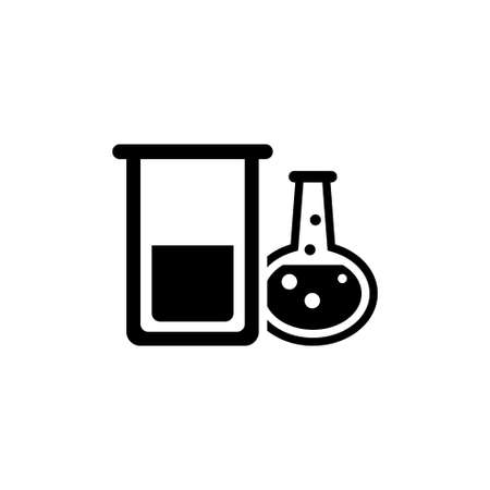 Chemical Laboratory Test Tube. Flat Vector Icon. Simple black symbol on white background