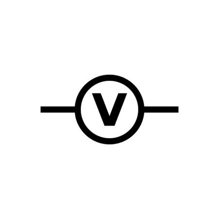 Electric Circuit Voltmeter. Flat Vector Icon. Simple black symbol on white background  イラスト・ベクター素材