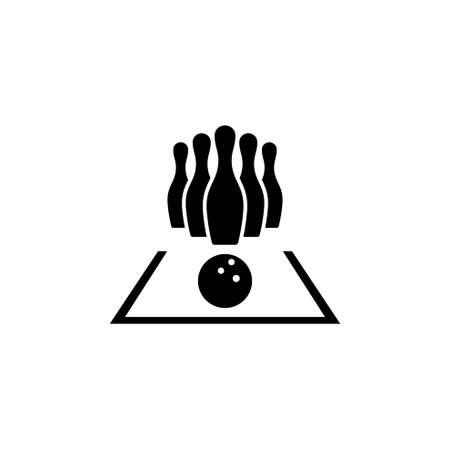 Bowling. Flat Vector Icon. Simple black symbol on white background Stock Photo