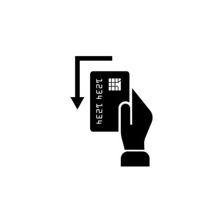 Pay Card in Hand. Flat Vector Icon. Simple black symbol on white background