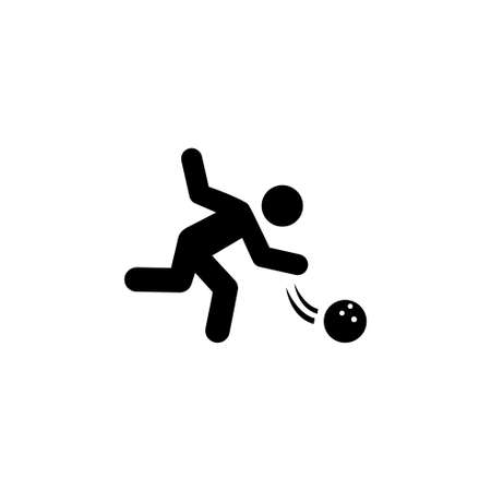 Professional Bowling Player throw Ball. Flat Vector Icon. Simple black symbol on white background