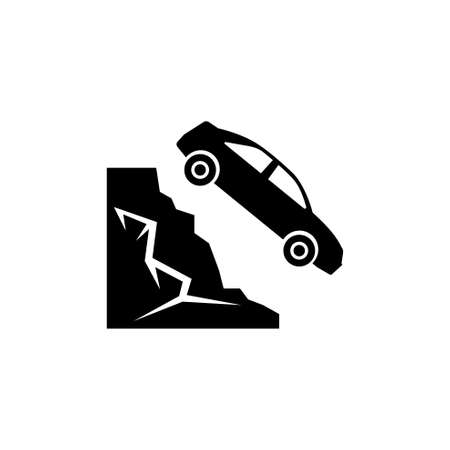 Car Fell into Ravine from Mountain. Flat Vector Icon. Simple black symbol on white background