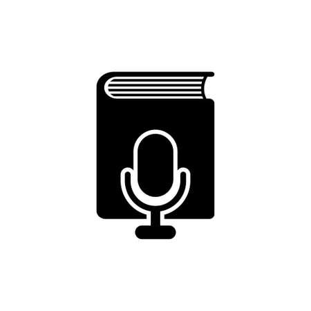 Voice Book through Microphone. Flat Vector Icon. Simple black symbol on white background. Ilustração