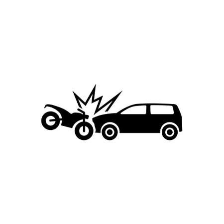Motorcycle Hits Car. Crash. Flat Vector Icon. Simple black symbol on white background