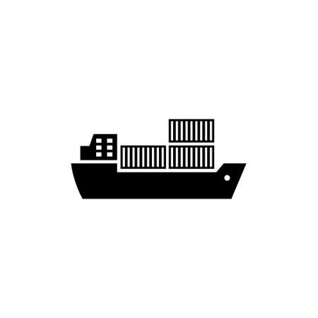 Cargo Ship. Flat Vector Icon illustration. Simple black symbol on white background. Cargo Ship sign design template for web and mobile UI element