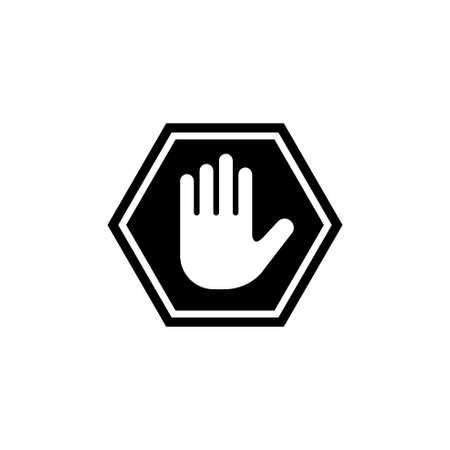 Do Not Enter Stop Hand. Flat Vector Icon illustration. Simple black symbol on white background. Do Not Enter Stop Hand sign design template for web and mobile UI element
