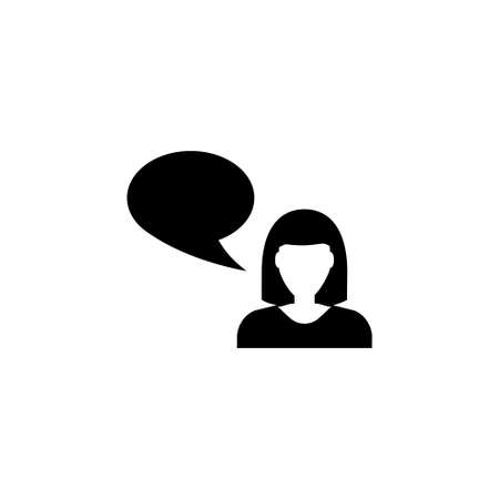 Talking Woman. Flat Vector Icon illustration. Simple black symbol on white background. Talking Woman sign design template for web and mobile UI element