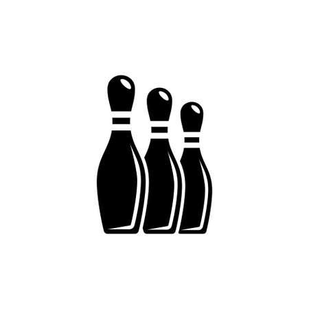 Quilles de bowling Pin. Illustration d'icône vectorielle plane. Symbole noir simple sur fond blanc. Modèle de conception de signe de bowling Skittles Pin pour élément d'interface utilisateur Web et mobile