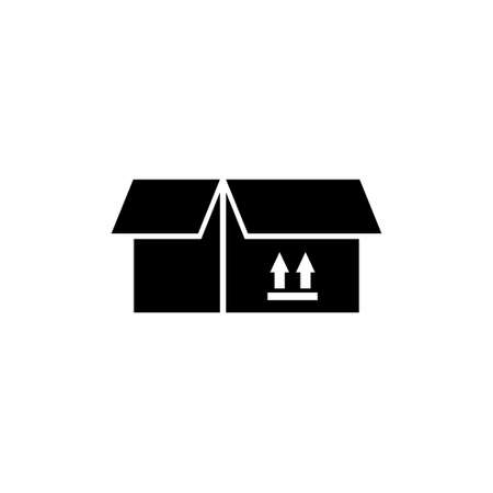 Open Box. Flat Vector Icon illustration. Simple black symbol on white background. Open Box sign design template for web and mobile UI element