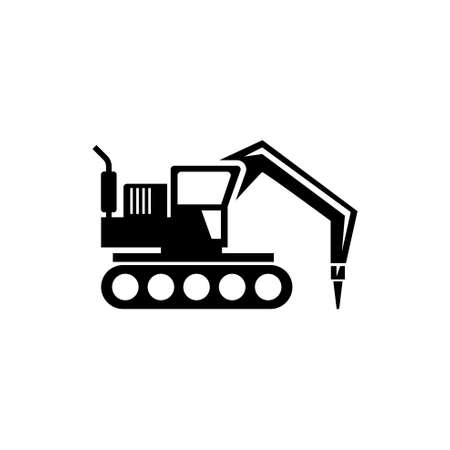 Excavator with Hammer, Drill Machine. Flat Vector Icon illustration. Simple black symbol on white background. Excavator with Hammer, Drill Machine sign design template for web and mobile UI element