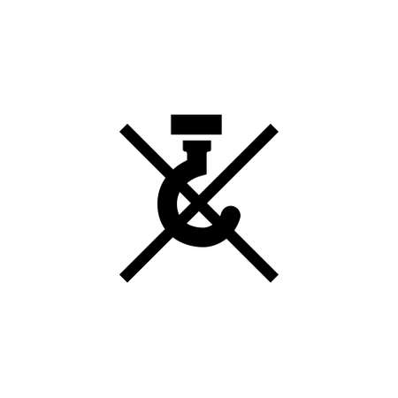 DO NOT USE HOOKS - PACKAGING. Flat Vector Icon illustration. Simple black symbol on white background. Do Not Use Hooks sign design template for web and mobile UI element 向量圖像