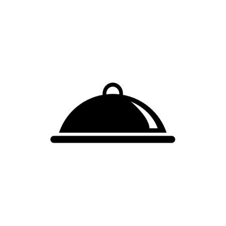 Covered Food, Meal Tray. Flat Vector Icon illustration. Simple black symbol on white background. Covered Food, Meal Tray sign design template for web and mobile UI element Illustration