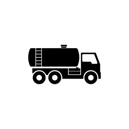 Gasoline Fuel Truck. Flat Vector Icon illustration. Simple black symbol on white background. Gasoline Fuel Truck sign design template for web and mobile UI element Vectores