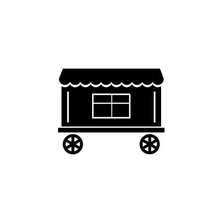 Circus Trailer. Flat Vector Icon illustration. Simple black symbol on white background. Circus Trailer sign design template for web and mobile UI element 免版税图像
