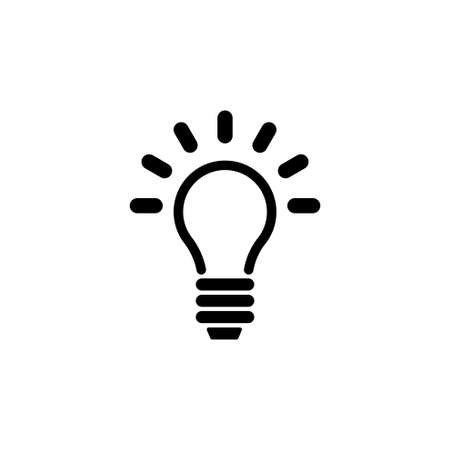 Lamp, Light Bulb, Idea. Flat Vector Icon illustration. Simple black symbol on white background. Lamp, Light Bulb, Idea sign design template for web and mobile UI element Vectores