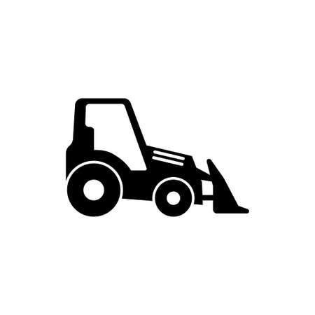 Tractor with Bucket, Bulldozer. Flat Vector Icon illustration. Simple black symbol on white background. Tractor with Bucket, Bulldozer sign design template for web and mobile UI element