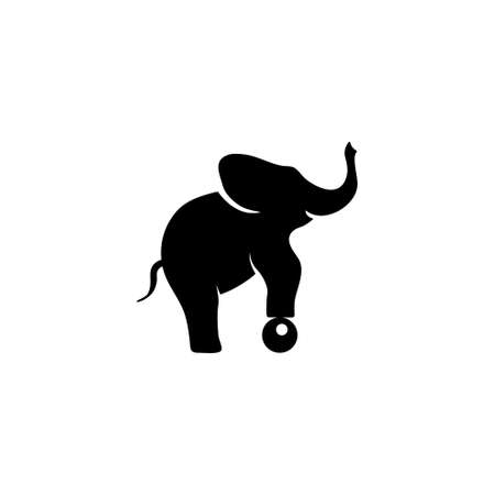 Circus Elephant Balancing on Ball. Flat Vector Icon illustration. Simple black symbol on white background. Circus Elephant Balancing on Ball sign design template for web and mobile UI element