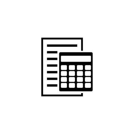 Bookkeeping Report and Calculator, Accounting Financial. Flat Vector Icon illustration. Simple black symbol on white background. Report and Calculator sign design template for web mobile UI element