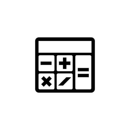 Calculadora matemática. Ilustración de icono de Vector plano. Símbolo simple negro sobre fondo blanco. Plantilla de diseño de signo de calculadora matemática para elemento de interfaz de usuario web y móvil