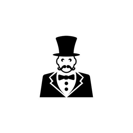 Ringmaster, Circus Ceremony Master with Hat. Flat Vector Icon illustration. Simple black symbol on white background. Ringmaster, Circus Ceremony Master sign design template for web mobile UI element Illustration