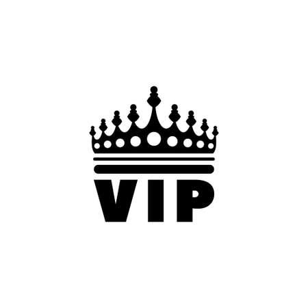 Couronne VIP dorée. Illustration d'icône de vecteur plat. Symbole noir simple sur fond blanc. Modèle de conception de signe de calculatrice pour élément d'interface utilisateur Web et mobile