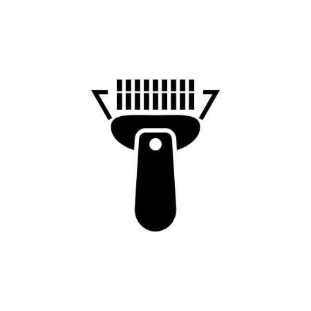 Scanner di codici a barre. Illustrazione dell'icona di vettore piatto. Semplice simbolo nero su sfondo bianco. Modello di progettazione del segno di scanner di codici a barre per elemento dell'interfaccia utente web e mobile
