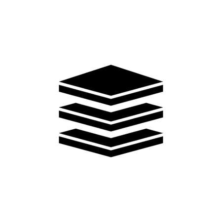 Layers, Strata. Flat Vector Icon illustration. Simple black symbol on white background. Layers, Strata sign design template for web and mobile UI element