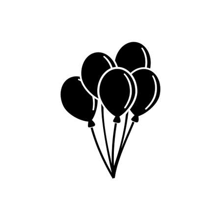 Air Balloon, Bunch of Balloons. Flat Vector Icon illustration. Simple black symbol on white background. Air Balloon, Bunch of Balloons sign design template for web and mobile UI element