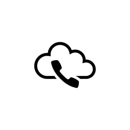 Voip, telefonia IP. Piatto icona vettore illustrazione. Semplice simbolo nero su sfondo bianco. Voip, modello di progettazione del segno di telefonia IP per elemento dell'interfaccia utente web e mobile