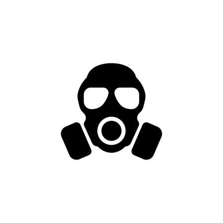 Respirator, Gas Mask. Flat Vector Icon illustration. Simple black symbol on white background. Respirator, Gas Mask sign design template for web and mobile UI element
