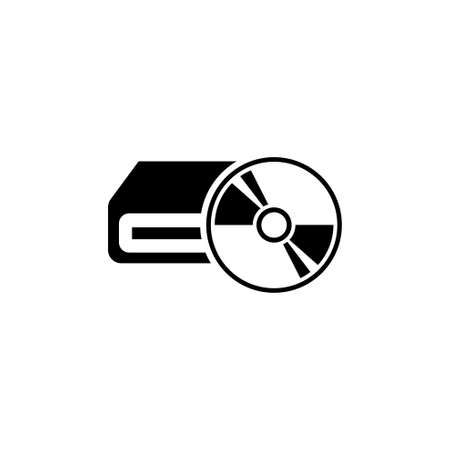Computer Hardware, Portable Optical Drive. Flat Vector Icon illustration.