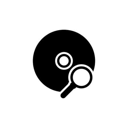 Scan de CD, recherche de données. Illustration d'icône vectorielle plane.