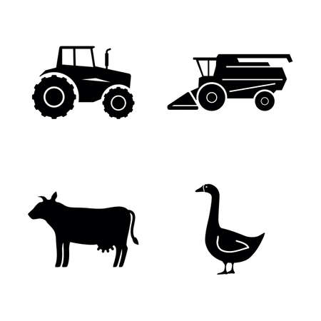 Farming. Simple Related Vector Icons Set for Video, Mobile Apps, Web Sites, Print Projects and Your Design. Farming icon Black Flat Illustration on White Background. Banque d'images