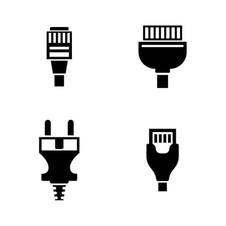 Cable Wire Computer Plug. Simple Related Vector Icons Set for Video, Mobile Apps, Web Sites, Print Projects and Your Design. Cable Wire Computer Plug icon Black Flat Illustration on White Background.