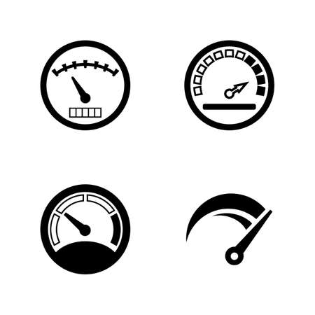 Speedometer, Gauges. Simple Related Vector Icons Set for Video, Mobile Apps, Web Sites, Print Projects and Your Design. Speedometer, Gauges icon Black Flat Illustration on White Background. Illustration