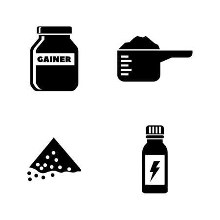 Nutrición deportiva. Conjunto de iconos vectoriales relacionados simples para video, aplicaciones móviles, sitios web, proyectos de impresión y su diseño. Icono de nutrición deportiva ilustración plana negra sobre fondo blanco.