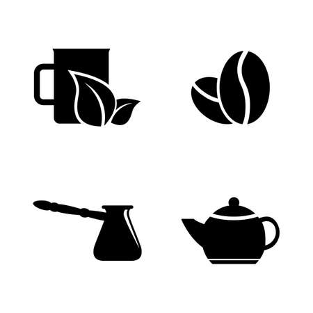 Coffee, Tea Drink. Simple Related Vector Icons Set for Video, Mobile Apps, Web Sites, Print Projects and Your Design. Coffee, Tea Drink icon Black Flat Illustration on White Background.
