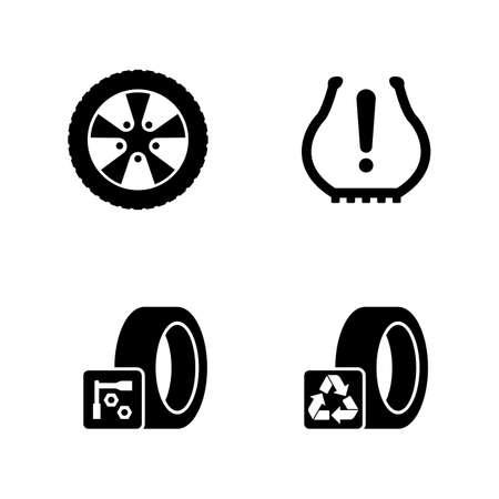 Bandenmontage, Wielen Schijven. Eenvoudige gerelateerde vectorpictogrammen voor video, mobiele apps, websites, printprojecten en uw ontwerp. Banden, wielen Schijven pictogram zwarte platte illustratie op witte achtergrond
