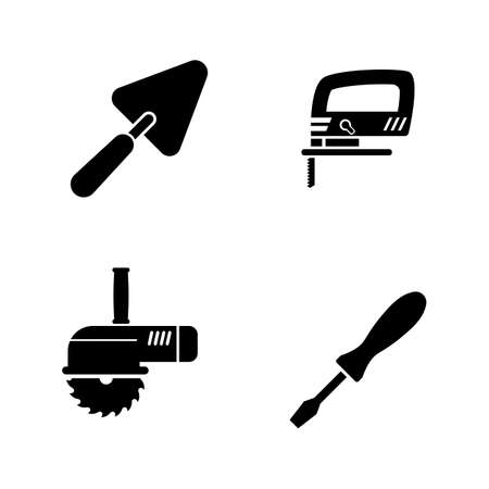 Home Repair Tools. Simple Related Vector Icons Set for Video, Mobile Apps, Web Sites, Print Projects and Your Design. Home Repair Tools icon Black Flat Illustration on White Background.