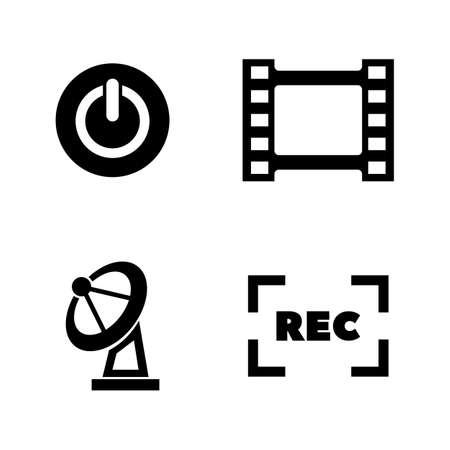 Television, TV. Simple Related Vector Icons Set for Video, Mobile Apps, Web Sites, Print Projects and Your Design. Television, TV icon Black Flat Illustration on White Background.