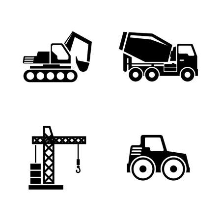 Construction Building Machines. Simple Related Vector Icons Set for Video, Mobile Apps, Web Sites, Print Projects and You Design. Construction Vehicles icon Black Flat Illustration on White Background