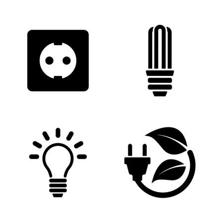 Electricity. Simple Related Vector Icons Set for Video, Mobile Apps, Web Sites, Print Projects and Your Design. Electricity icon Black Flat Illustration on White Background. 写真素材