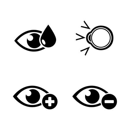 Eye Treatment. Simple Related Vector Icons Set for Video, Mobile Apps, Web Sites, Print Projects and Your Design. Eye Treatment icon Black Flat Illustration on White Background.