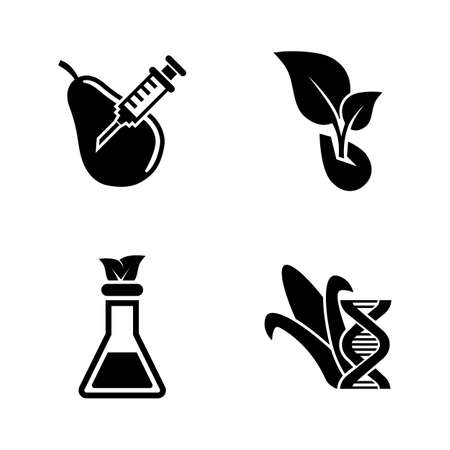GMO, Dna Food Modification. Simple Related Vector Icons Set for Video, Mobile Apps, Web Sites, Print Projects and Your Design. GMO, Dna Modification icon Black Flat Illustration on White Background. Illustration