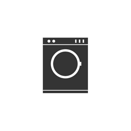 Washing machine. Black Icon Flat on white background Stock Photo