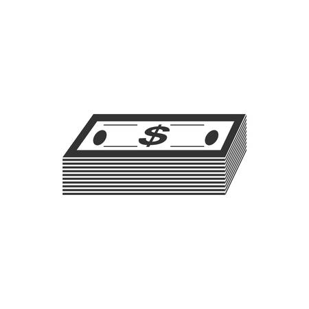 Bundle money. Black Icon Flat on white background Ilustração