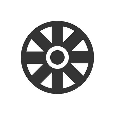 Cart Wheel. Black Icon Flat on white background