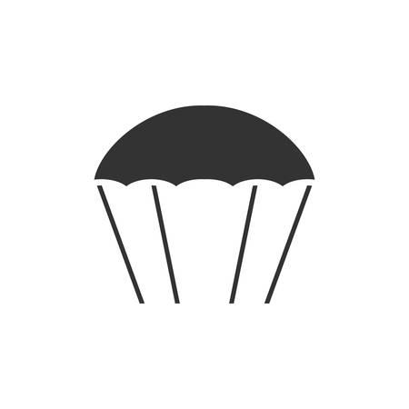 Paracaídas. Icono negro plano sobre fondo blanco.
