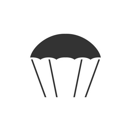 Parachute. Black Icon Flat on white background