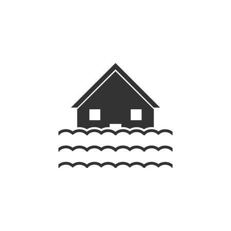Flood. Black Icon Flat on white background Illustration